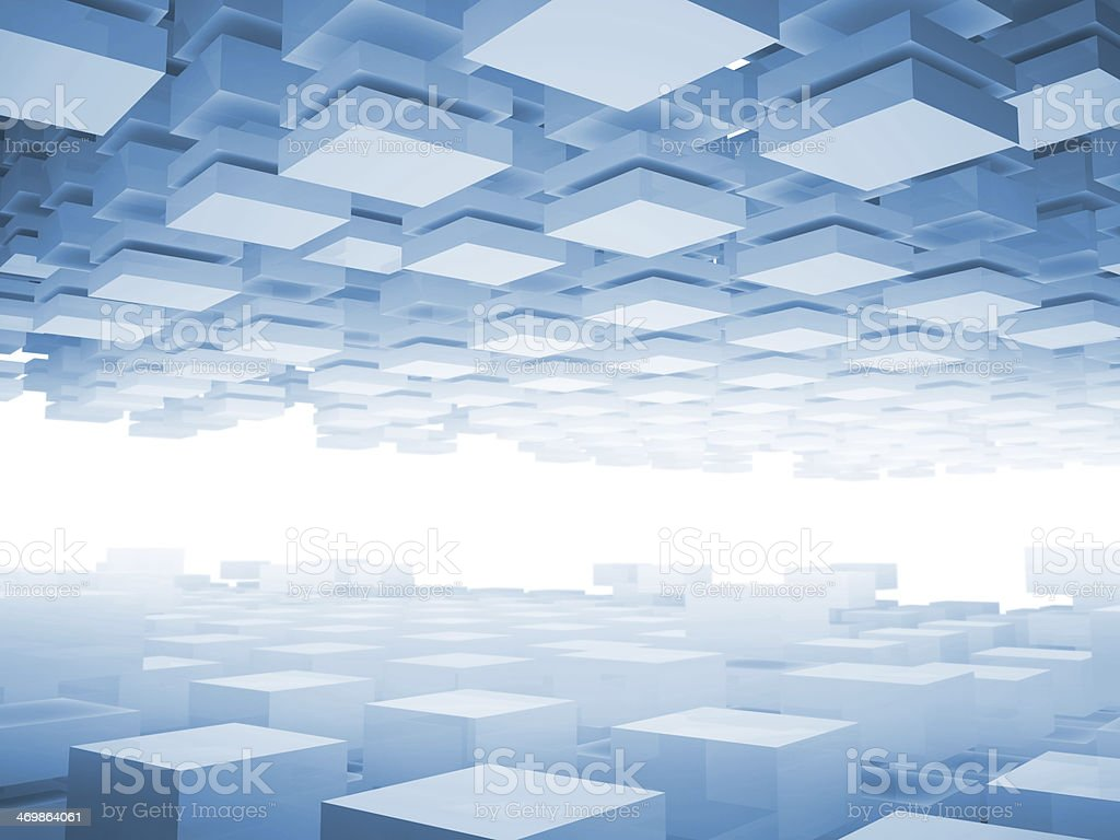 Abstract 3d background with light blue boxes stock photo