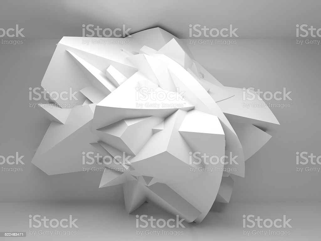 Abstract 3d background with white big chaotic shaped object stock photo