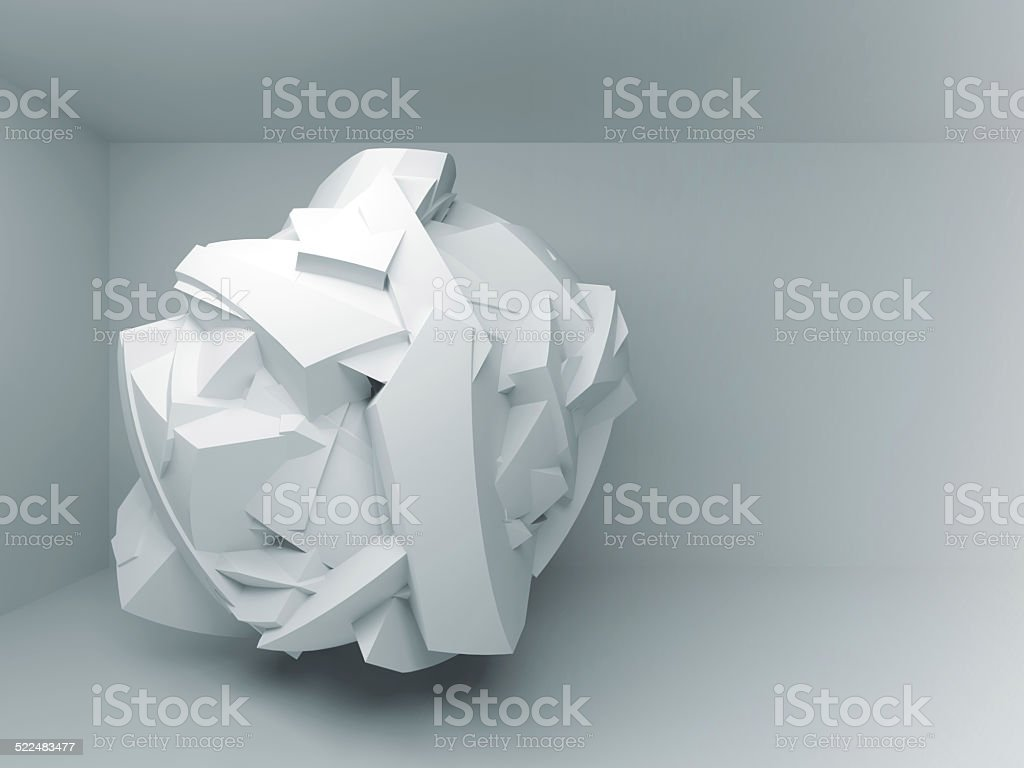 Abstract 3d background with white flying chaotic object stock photo