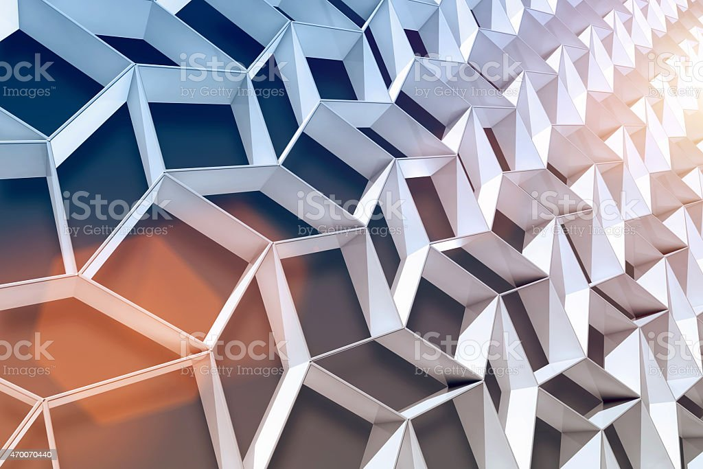 Abstract 3D background with white shapes and shining light vector art illustration