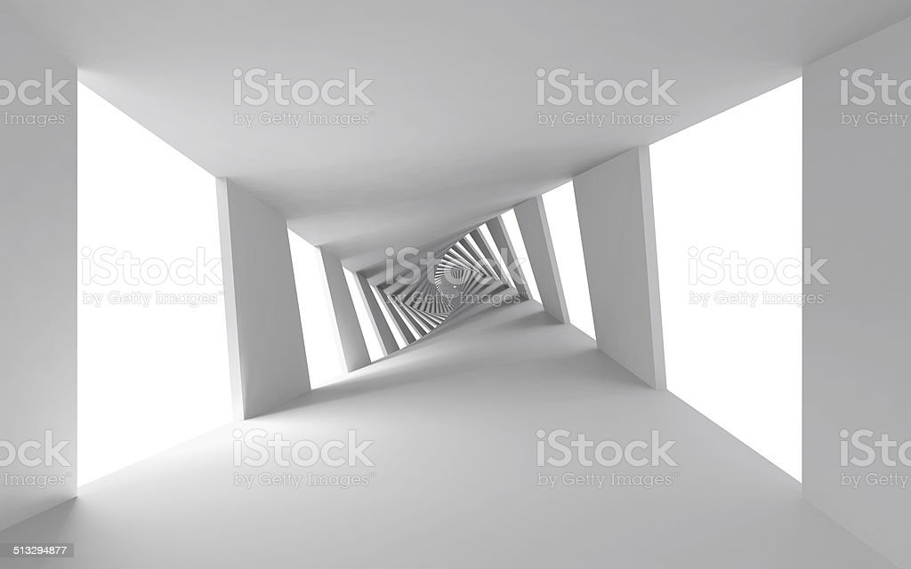 Abstract 3d background with white twisted spiral corridor stock photo