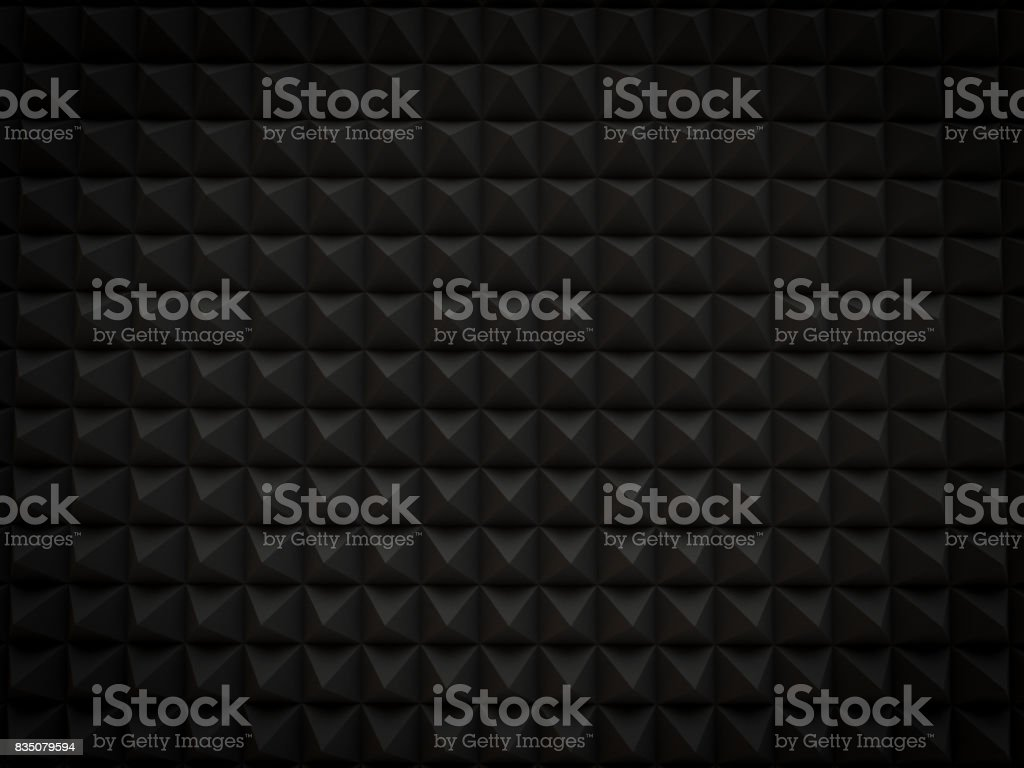 abstract 3d black background Pyramid shaped small scattered for modern technology render. top view stock photo