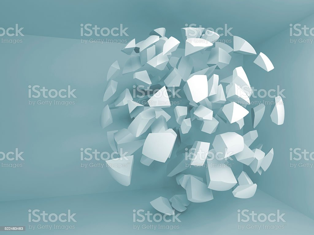 Abstract 3d blue background with fragments of big sphere stock photo