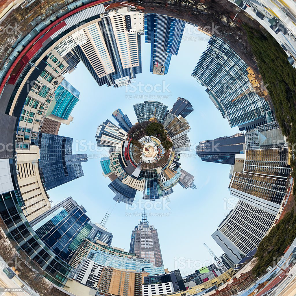 Abstract 3d City Planet In Tunnel stock photo