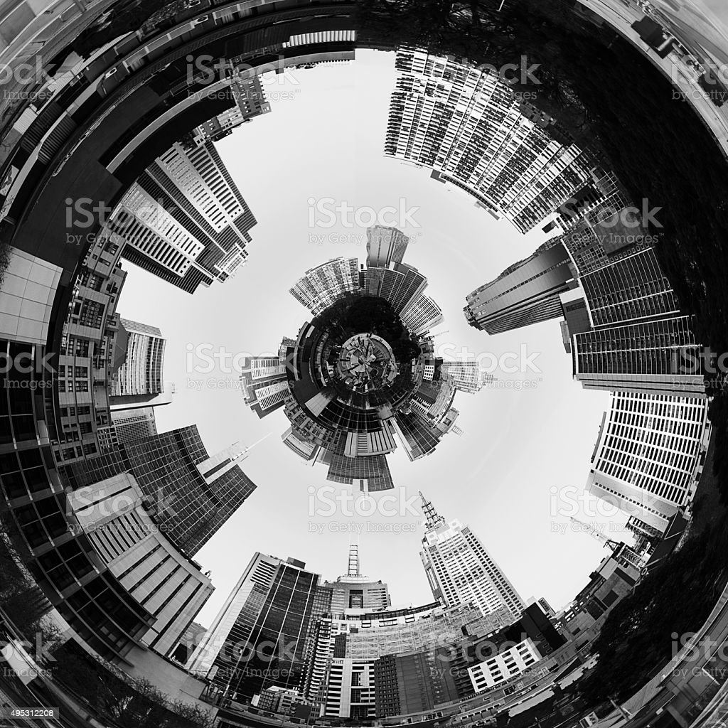 Abstract 3d City Planet Inside City Tunnel stock photo