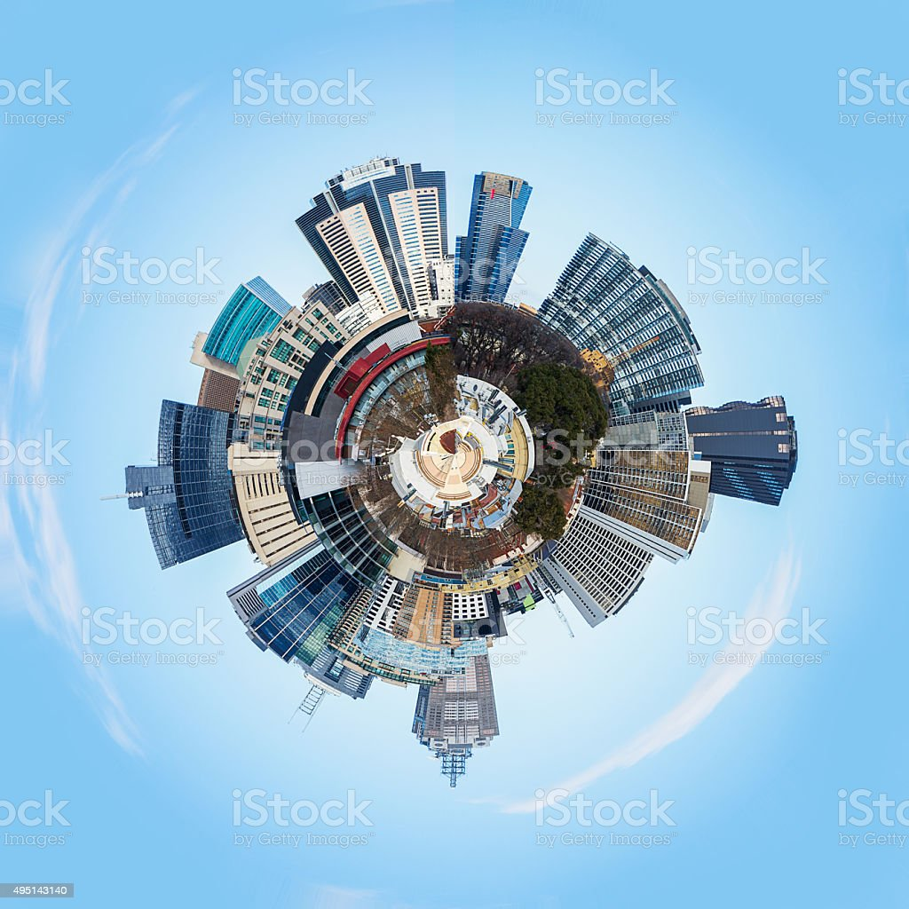 Abstract 3d City Planet stock photo