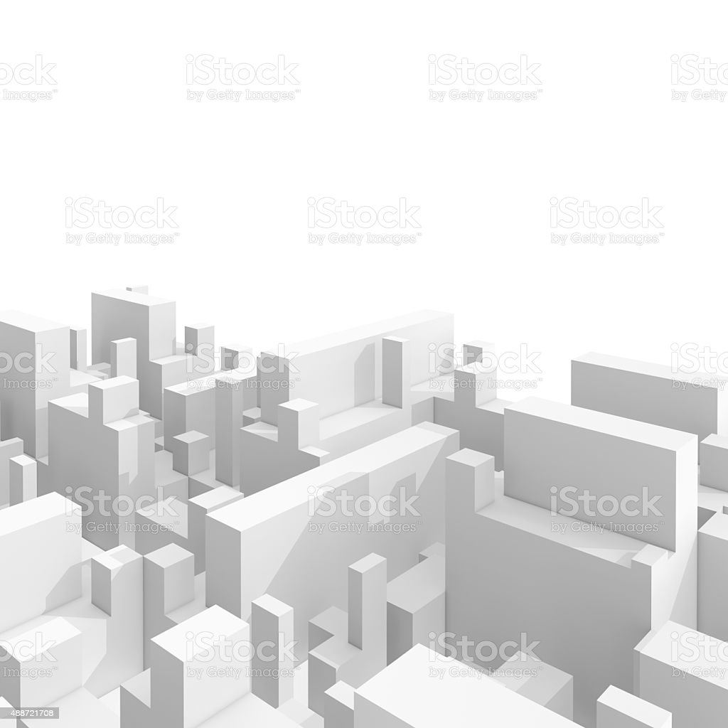 Abstract 3d cityscape over white background stock photo