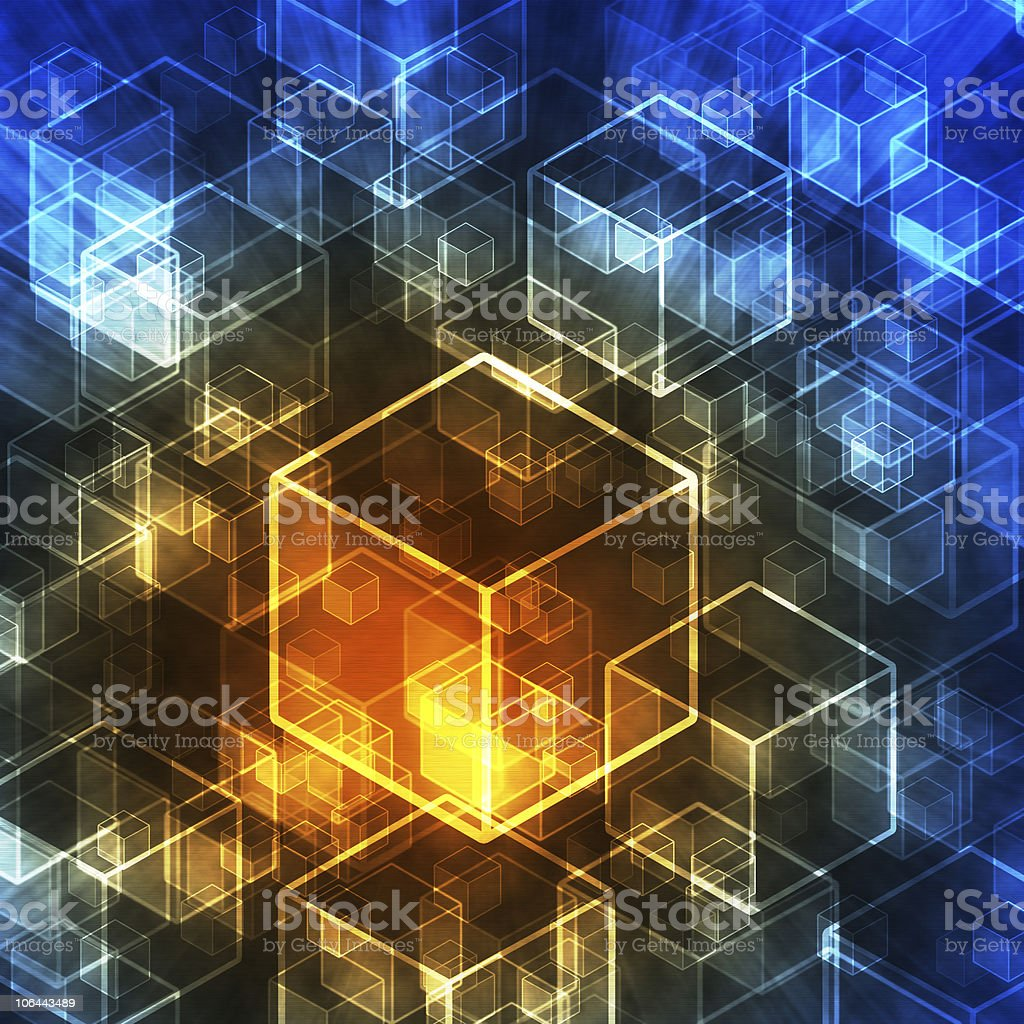 Abstract 3d cubes in technology style. stock photo
