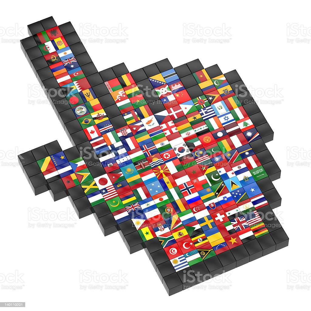 Abstract 3d cursor with flags of the world. stock photo