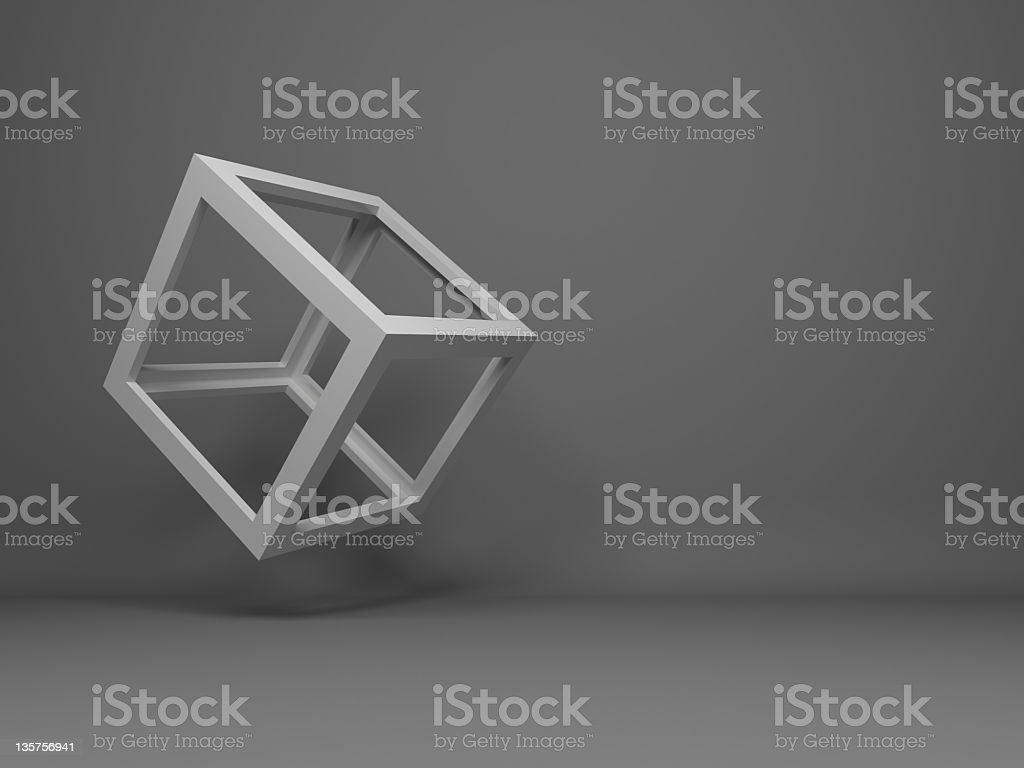 Abstract 3D frame-only cube flying on a gray background stock photo