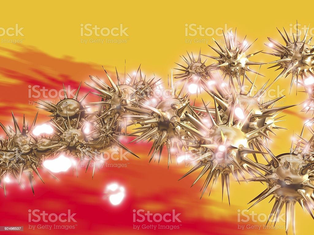 Abstract 3D Glowing Spores royalty-free stock photo