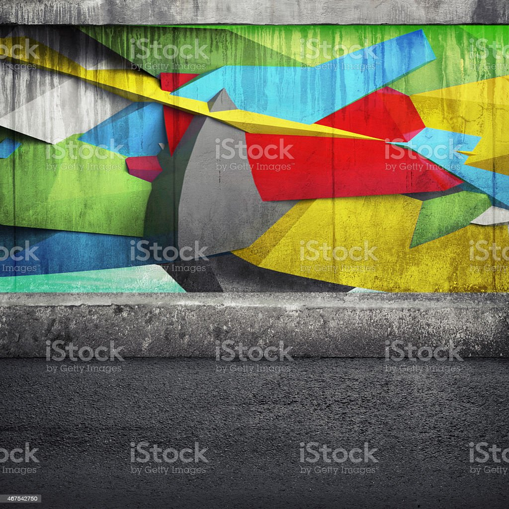 Abstract 3d graffiti fragment on the concrete wall stock photo