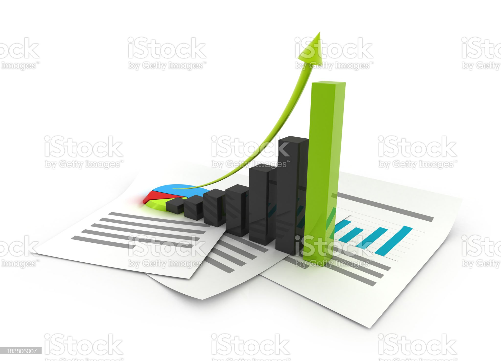 Abstract 3D graphical business chart royalty-free stock photo