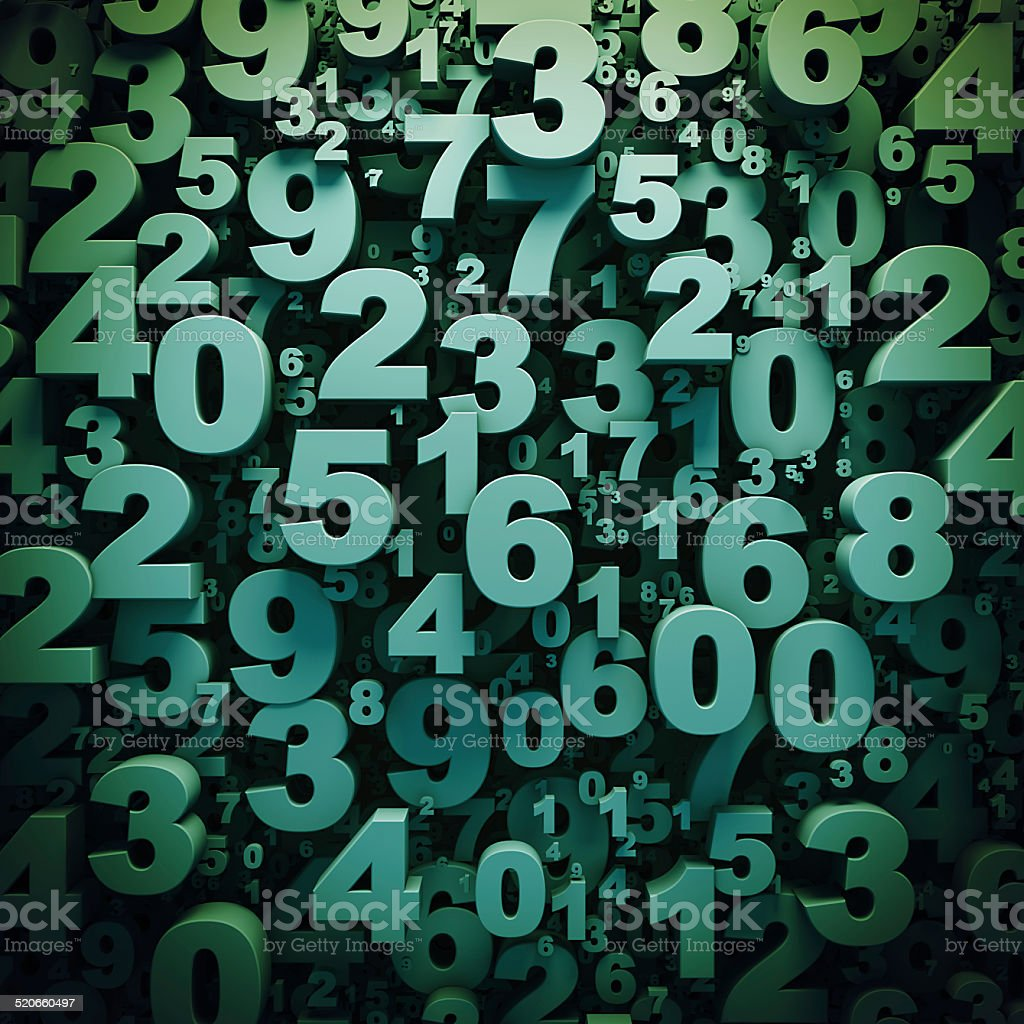 Abstract 3D green digits background stock photo