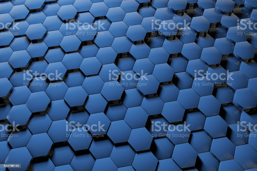 Abstract 3D hexagon blue background stock photo