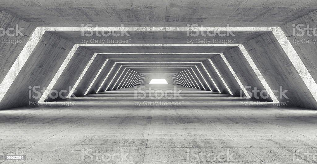 Abstract 3d illuminated empty corridor interior stock photo
