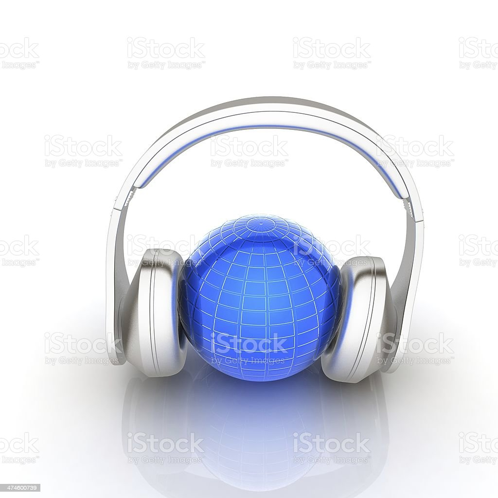 abstract 3d illustration of earth listening music stock photo
