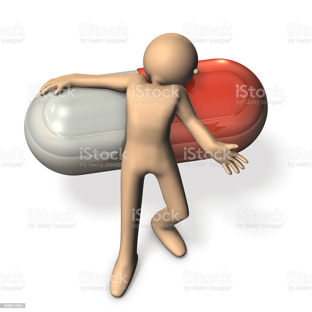 Abstract 3D illustrations representing the drug dependence. stock photo