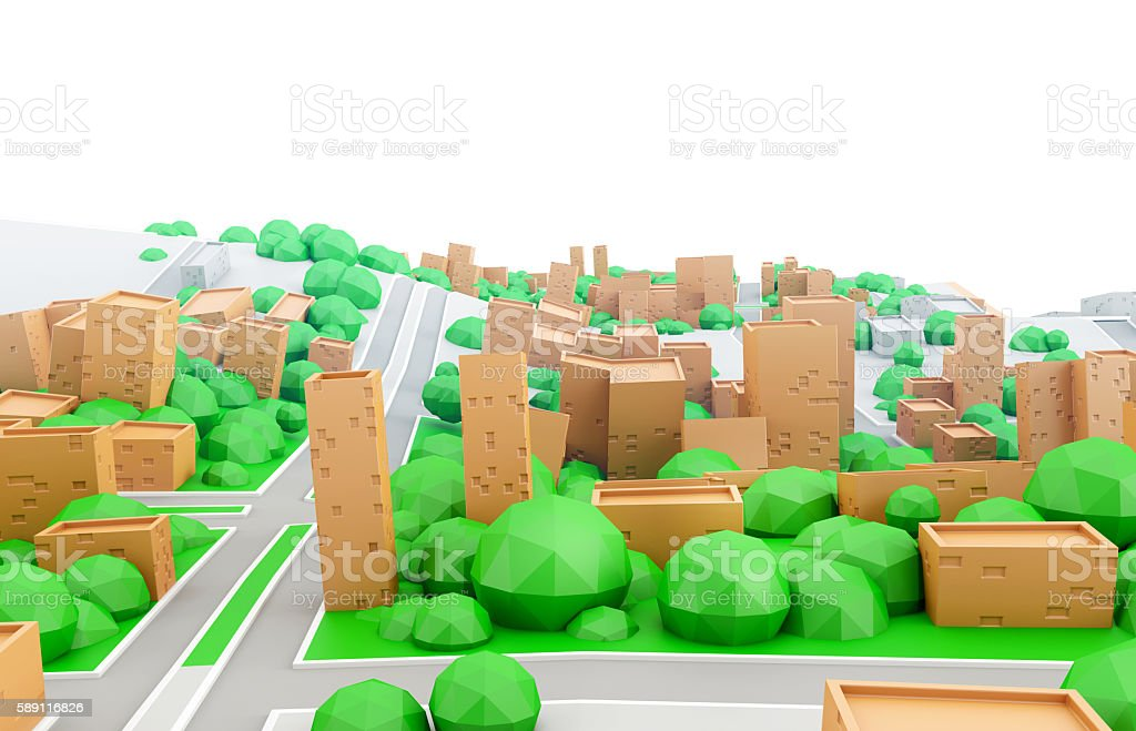 Abstract 3d model of a cardboard city with white sky stock photo