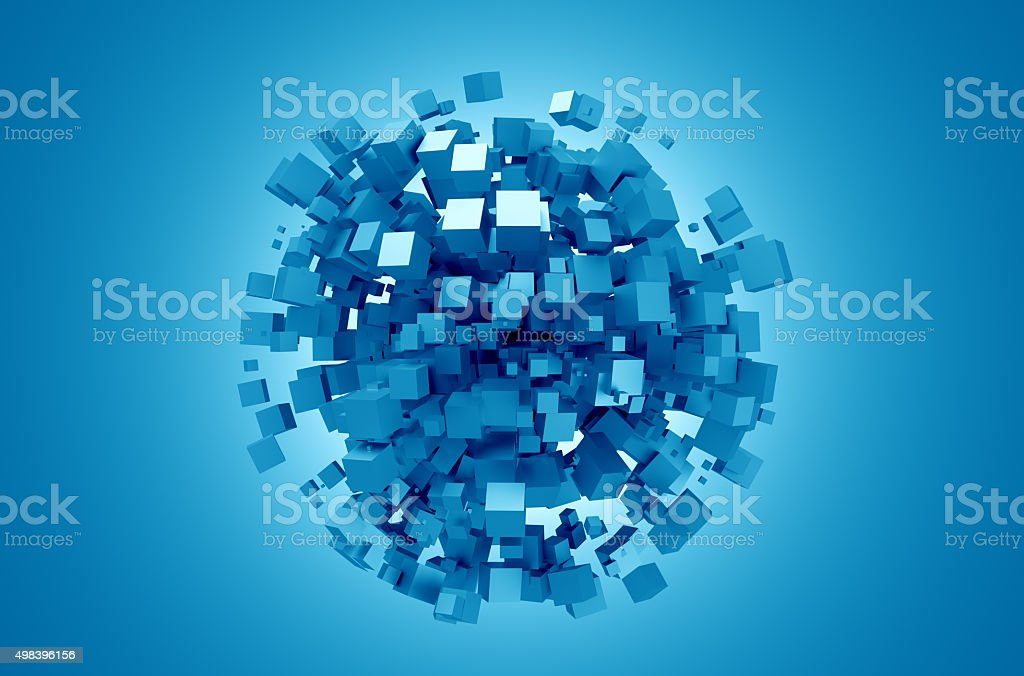 Abstract 3D Rendering of Blue Cubes stock photo
