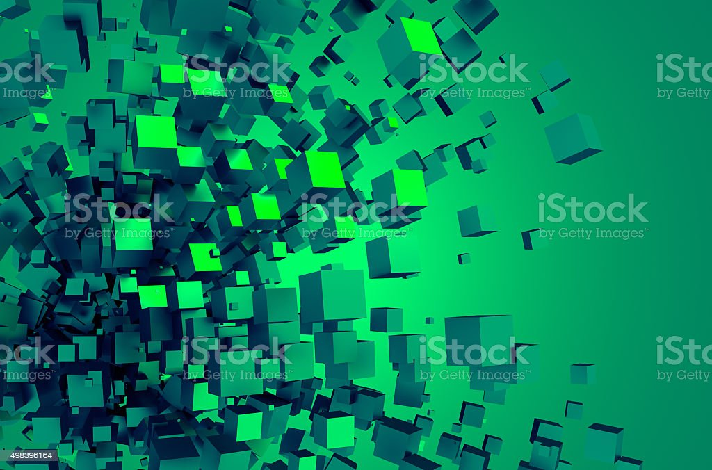 Abstract 3D Rendering of Chaotic Cubes stock photo