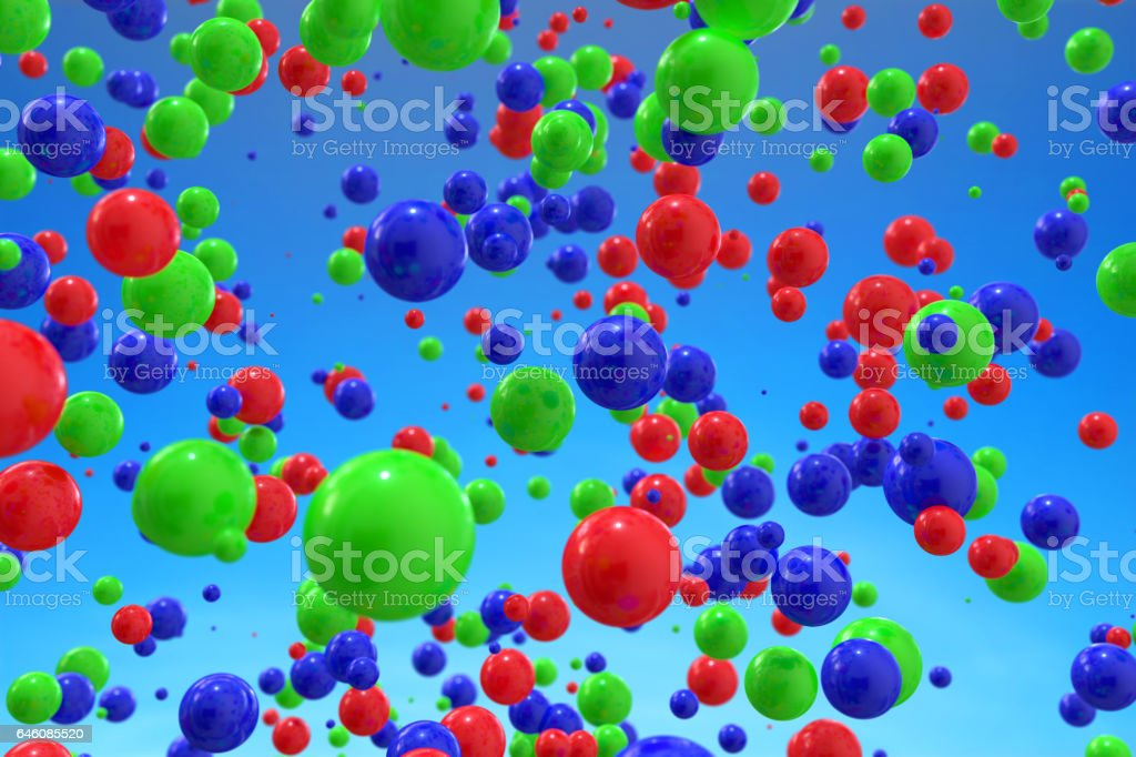 Abstract 3d rendering of colorful balls in sky stock photo