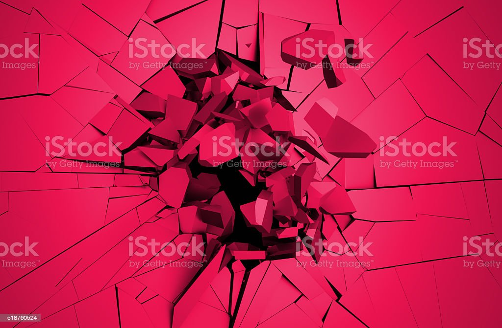Abstract 3D Rendering of Cracked Surface. stock photo