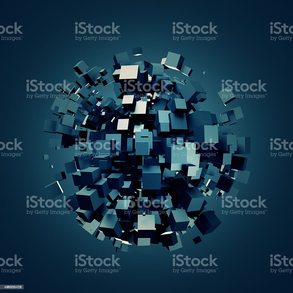 Abstract 3D Rendering of Dark Cubes stock photo