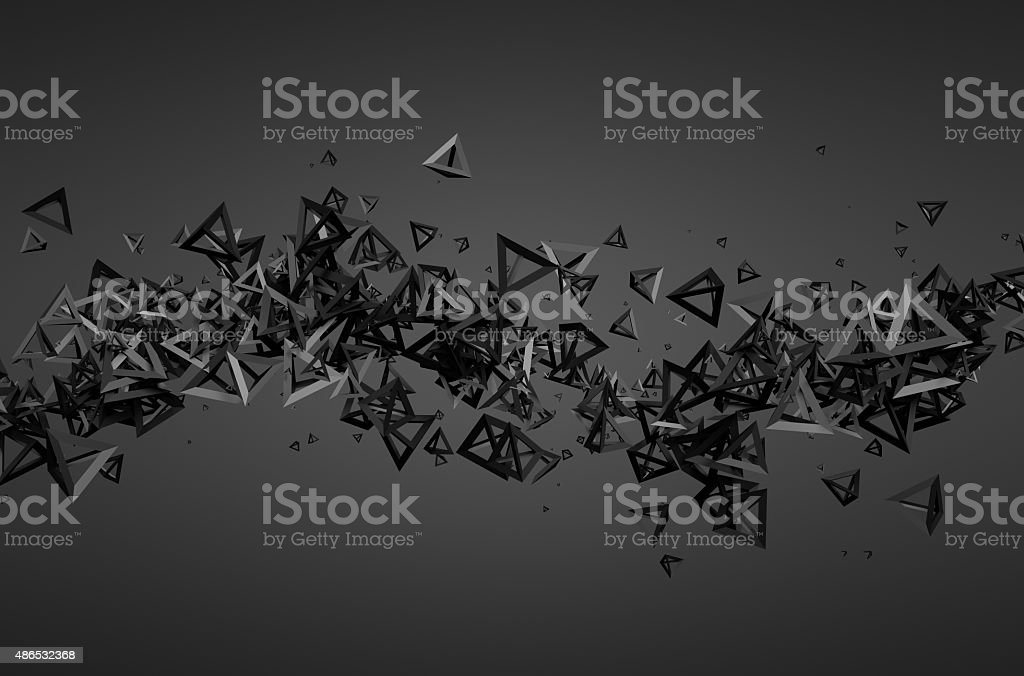 Abstract 3D Rendering of Flying Particles stock photo