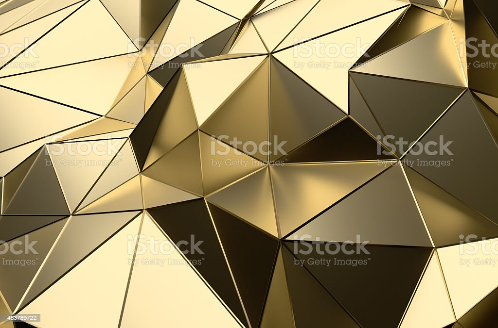 Abstract 3D Rendering of Gold Low Poly Surface stock photo