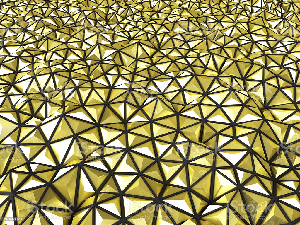 Abstract 3d rendering of gold surface Background with futuristic stock photo