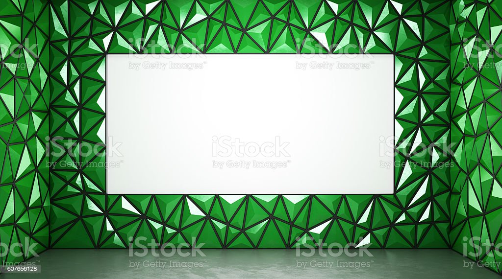 Abstract 3d rendering of green surface Background with space for stock photo