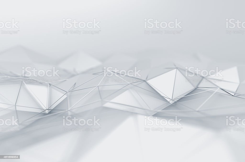 Abstract 3D Rendering of Low Poly White Surface stock photo