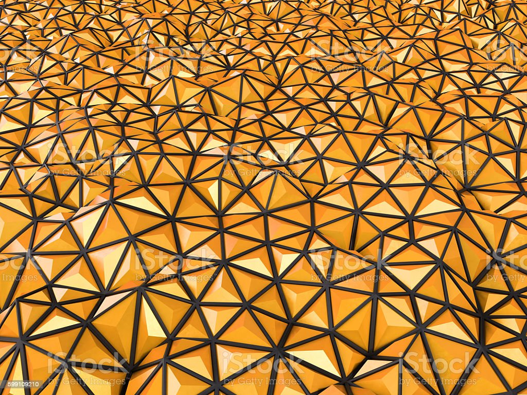 Abstract 3d rendering of orange surface Background with futurist stock photo