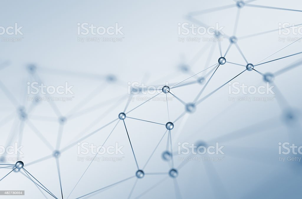 Abstract 3D Rendering of Structure with Spheres stock photo