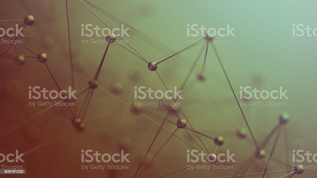 Abstract 3D Rendering of Structure with Spheres. stock photo