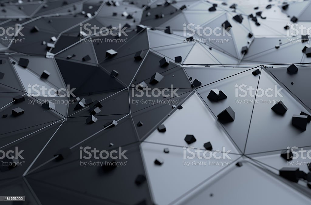 Abstract 3d rendering of surface with chaotic cubes stock photo
