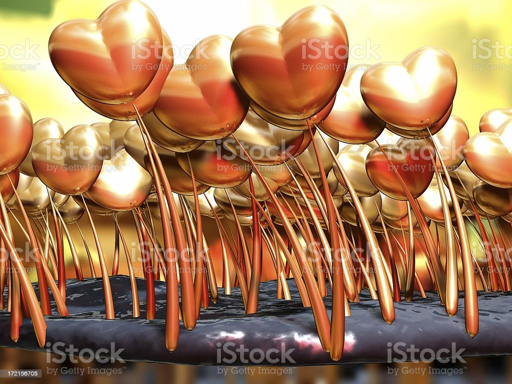 Abstract 3D Valentine Heart Garden royalty-free stock photo