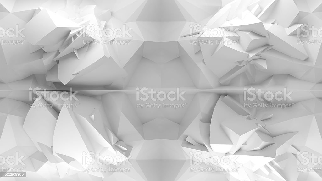 Abstract 3d white background, chaotic polygonal structure stock photo