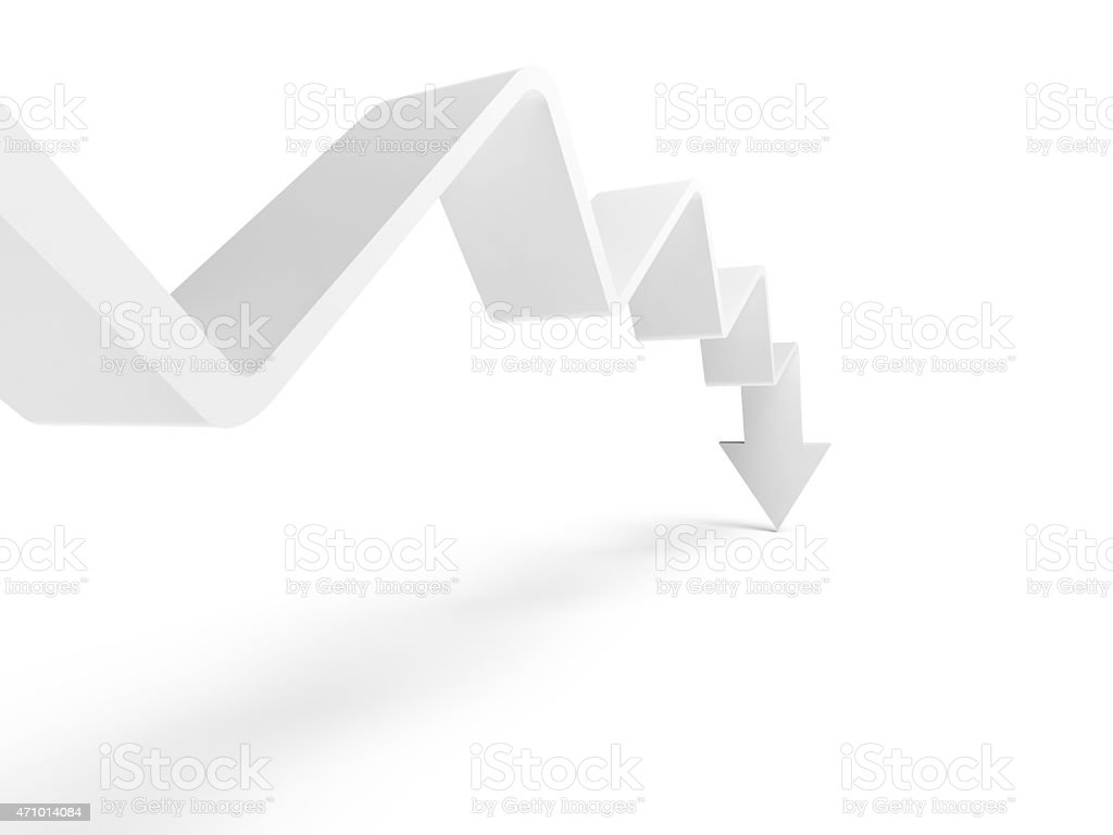 Abstract 3D white trend line with end-arrow going down stock photo