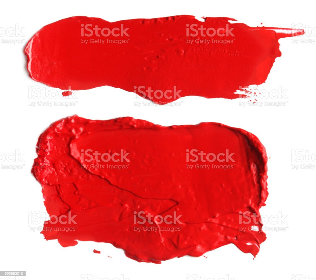 abstract acrylic color brush strokes blots. Isolated on white. stock photo