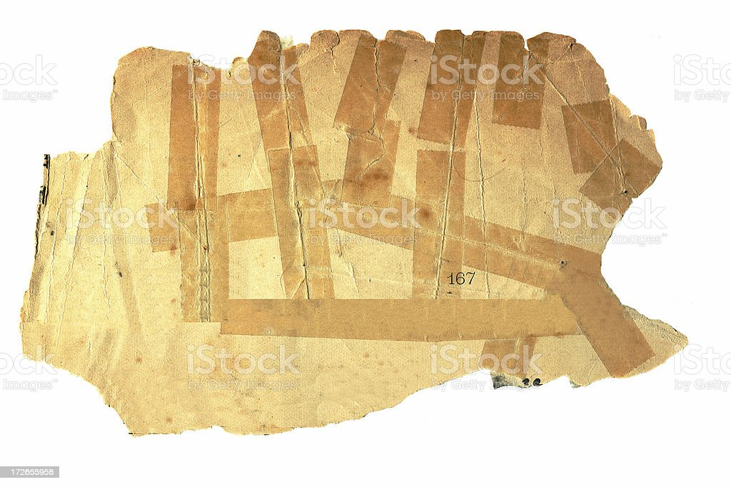 Abstract Aged Paper with Tape royalty-free stock photo