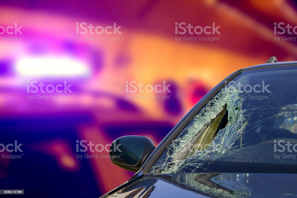 Abstract ambulance in an accident at nighttime stock photo