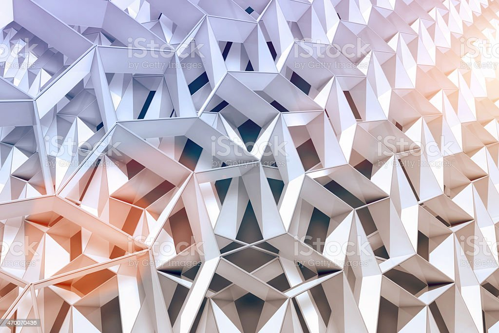 Abstract architectural background with 3d shapes and light vector art illustration