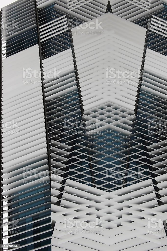 Abstract architectural composition resembling facade or ceiling of futuristic building stock photo