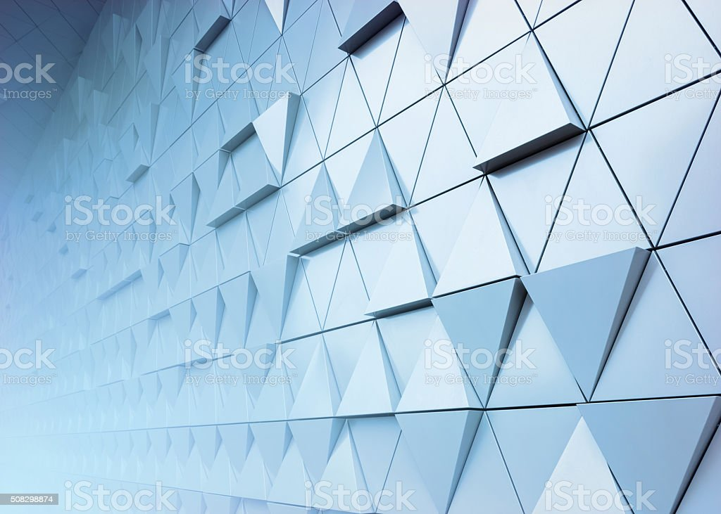 Abstract close-up view of modern aluminum ventilated triangles on...