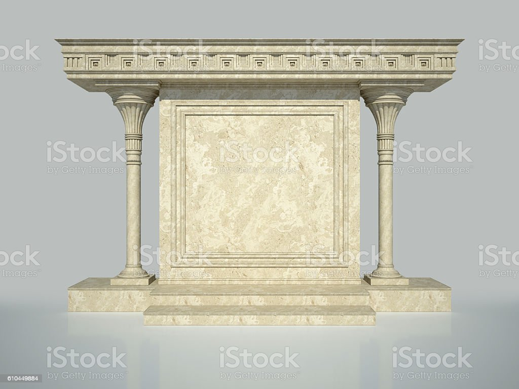Architectural element. Two columns and walls with molding. 3D Render