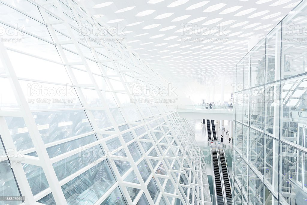 Abstract architectural wall of glass and steel in modern office stock photo