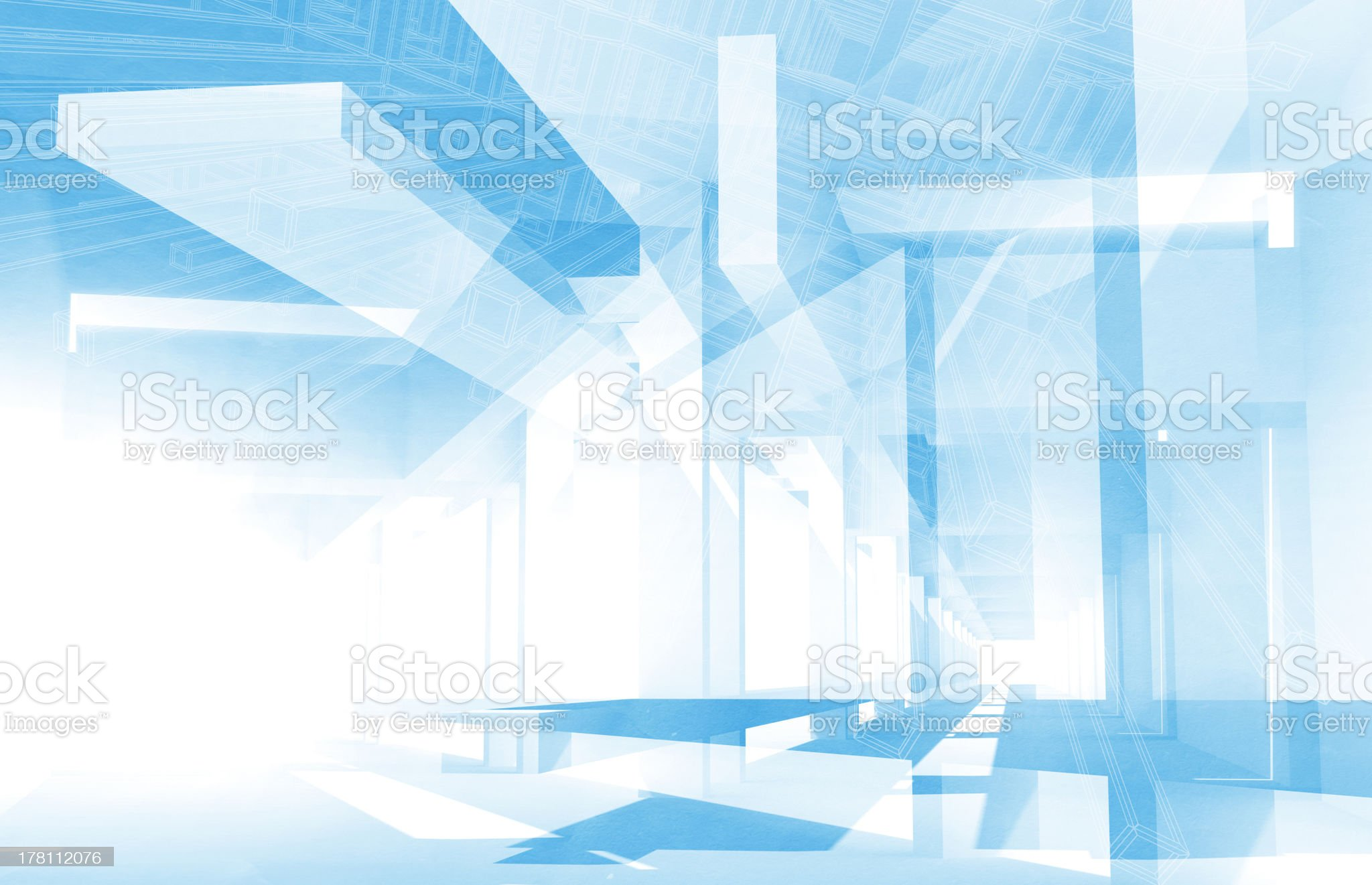 Abstract architecture 3d background with blue constructions and drawings royalty-free stock photo