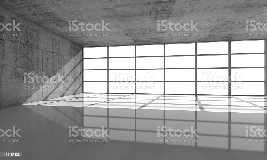 Abstract architecture background, 3d concrete interior stock photo